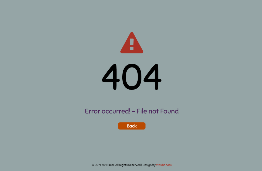 404 Error Page In Bootstrap 4