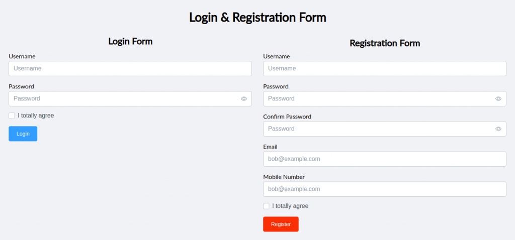 Shoelace Style: Login and Registration Form