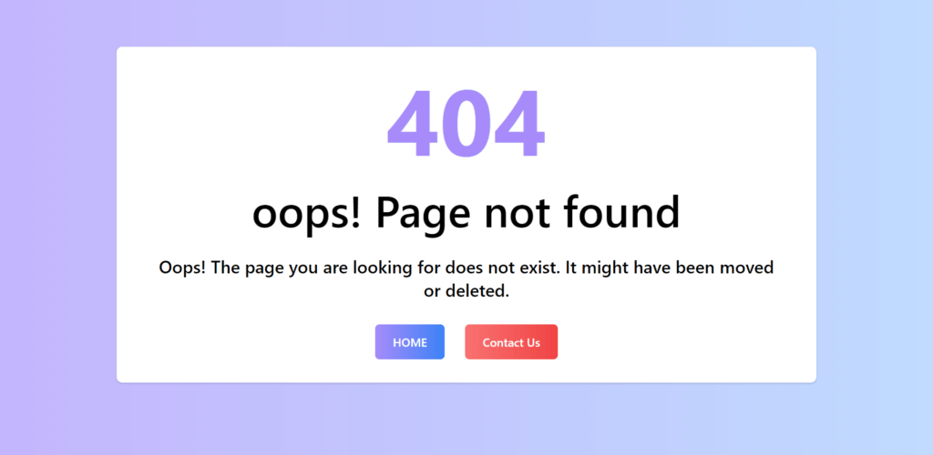 404 Error Page Design In Tailwind CSS