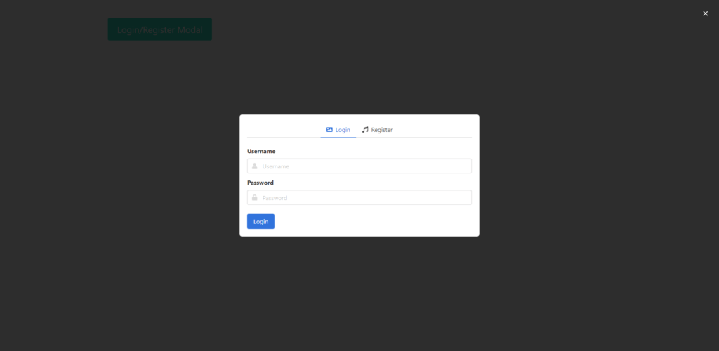 Bulma Modal Login and Register Form with Jquery