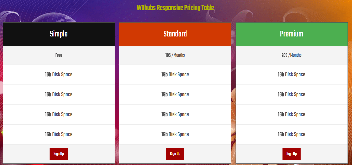 Responsive Pricing Table in HTML and CSS
