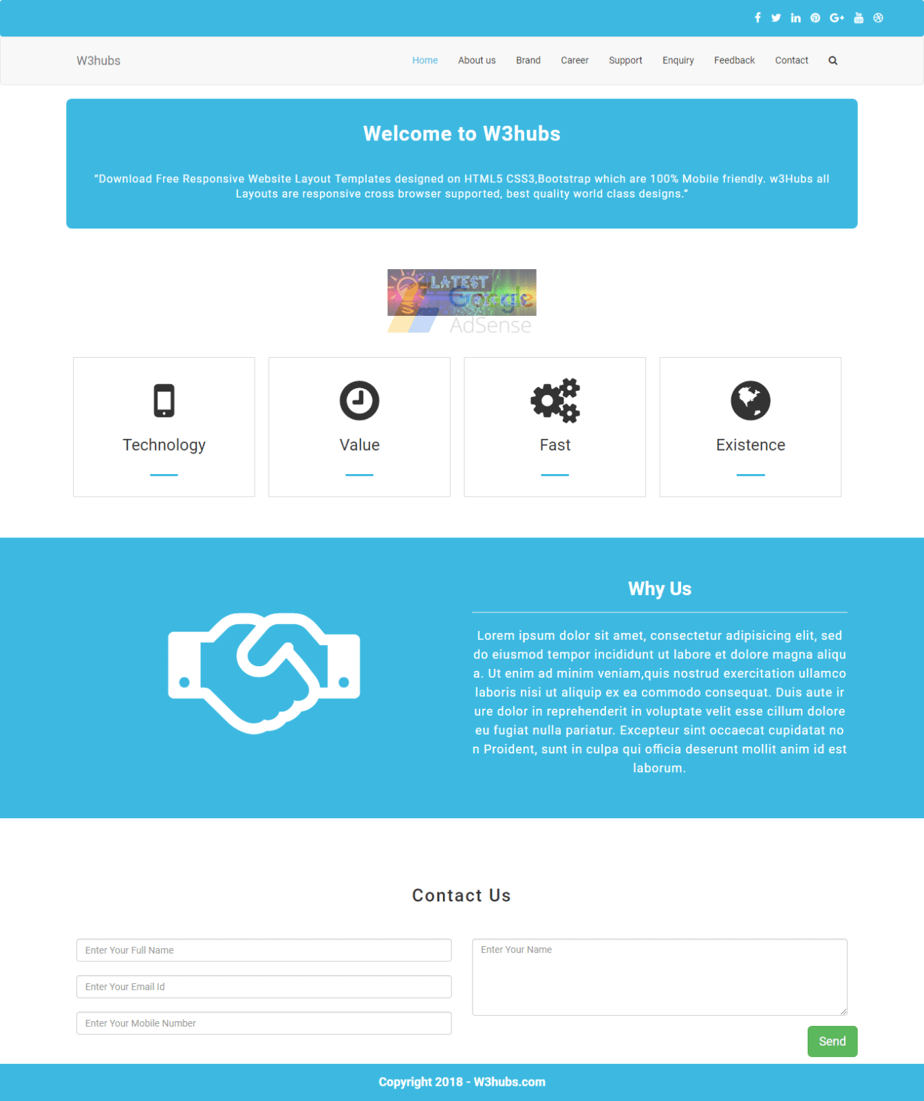 Business service landing page in Bootstrap