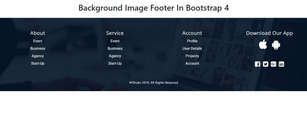 Background Image Footer In Bootstrap 4
