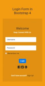 Welcome Login Form In Bootstrap 4(Mobileview)