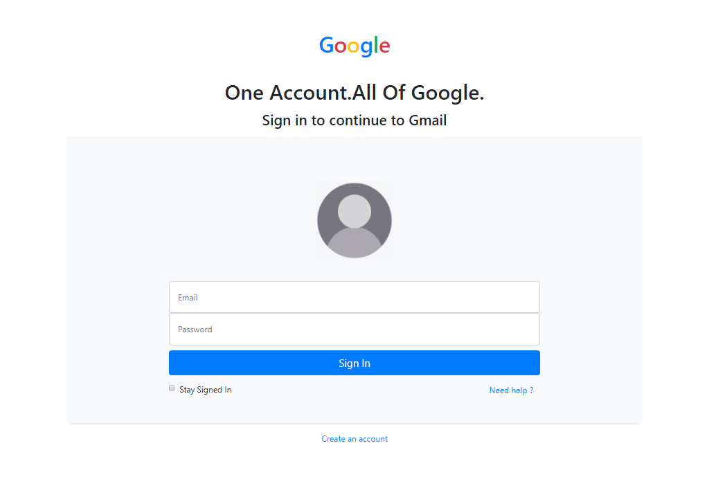 Old Gmail Login Form In Bootstrap 4
