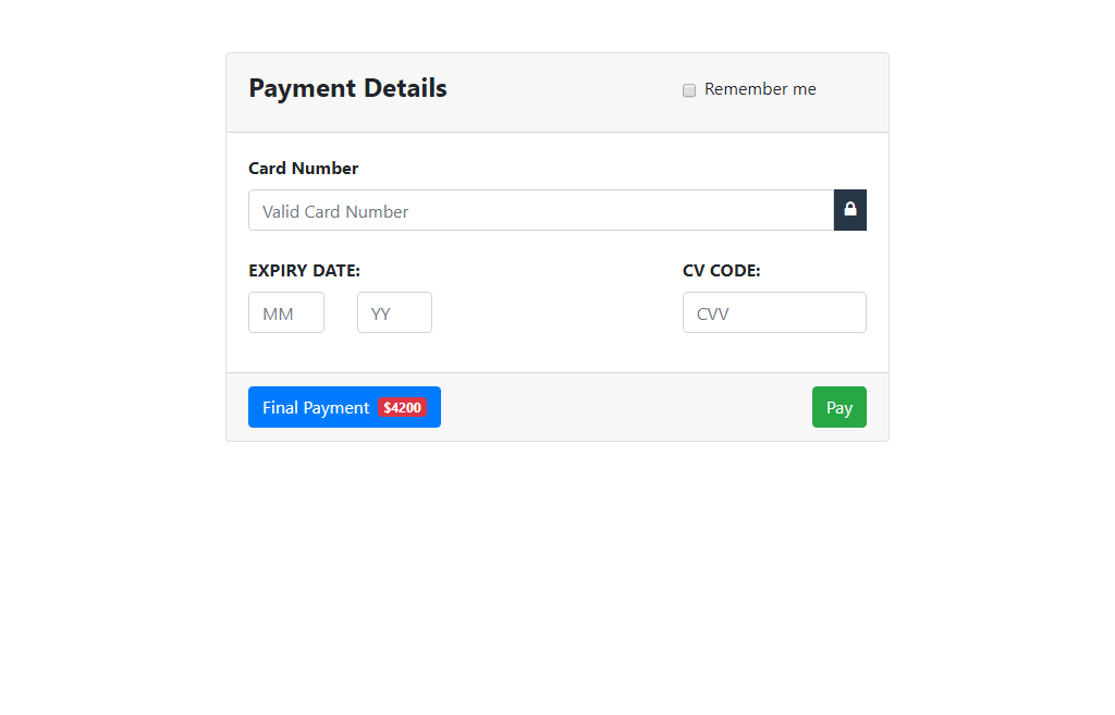 Payment Interface In Bootstrap 4