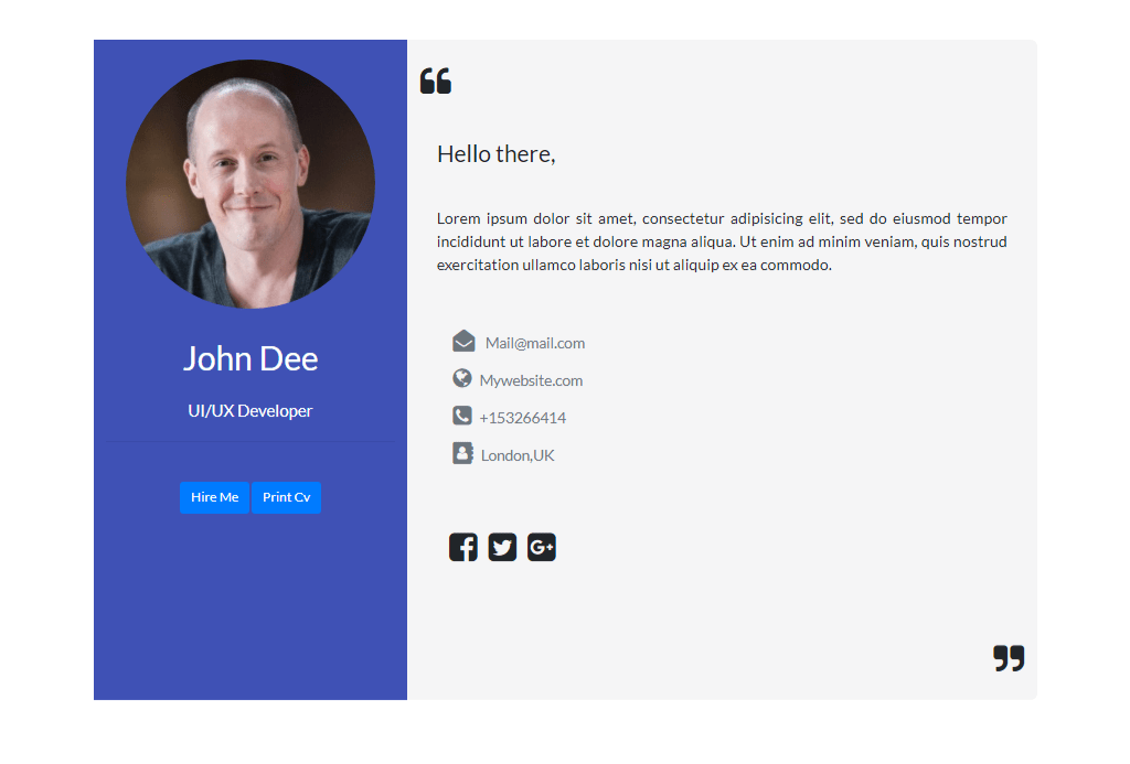 Vcard In Bootstrap 4