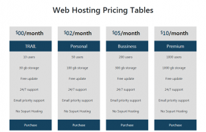 Web Hosting Pricing Tables In Bootstrap 4