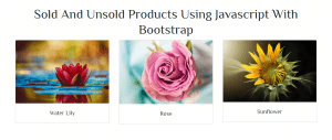 Sold and Unsold Products Using JavaScript and Bootstrap 4