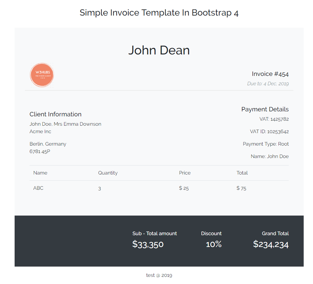 Simple Invoice Template In Bootstrap 4