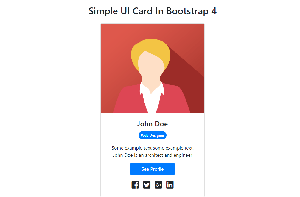 Simple UI Card In Bootstrap 4