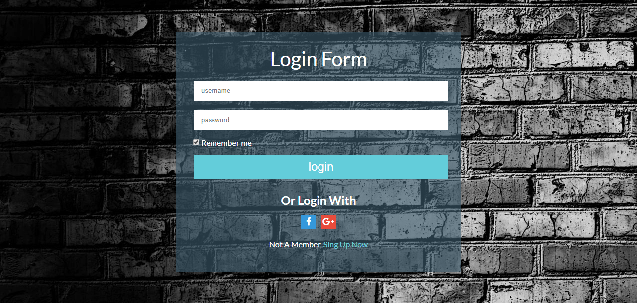 Login Form In Pug