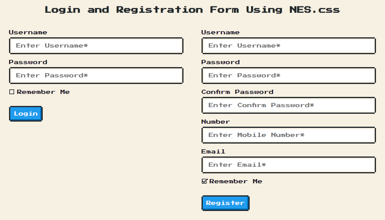 Login and Registration Form Using NES.css