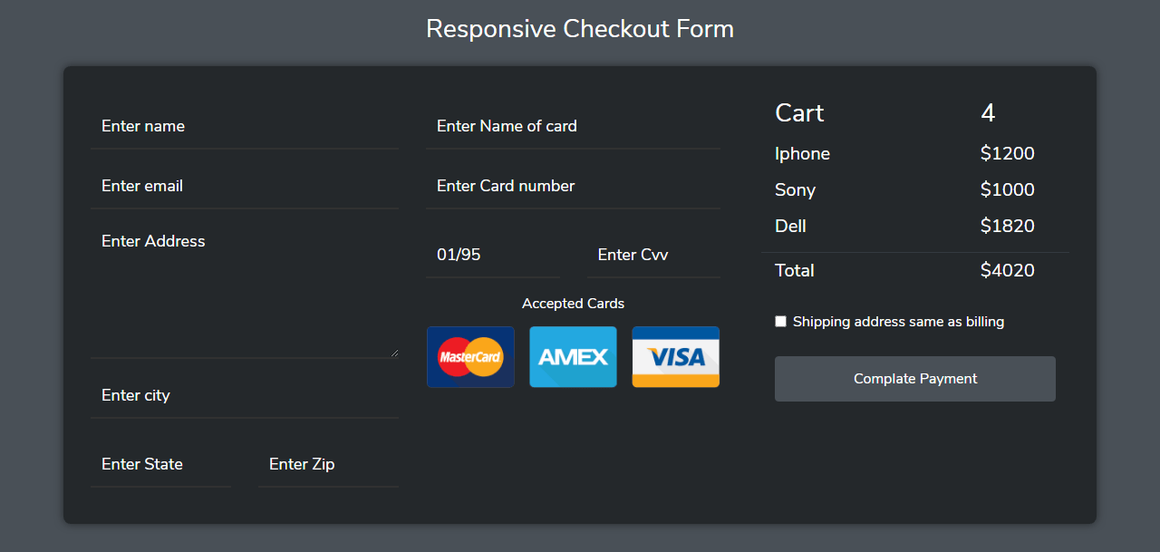 Responsive Checkout Form In Bootstrap 4