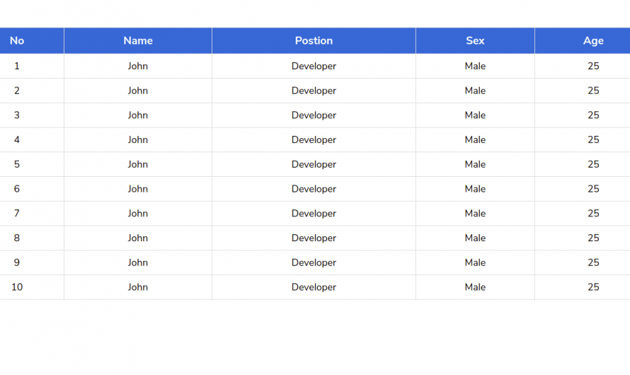 CSS Sticky Table Header