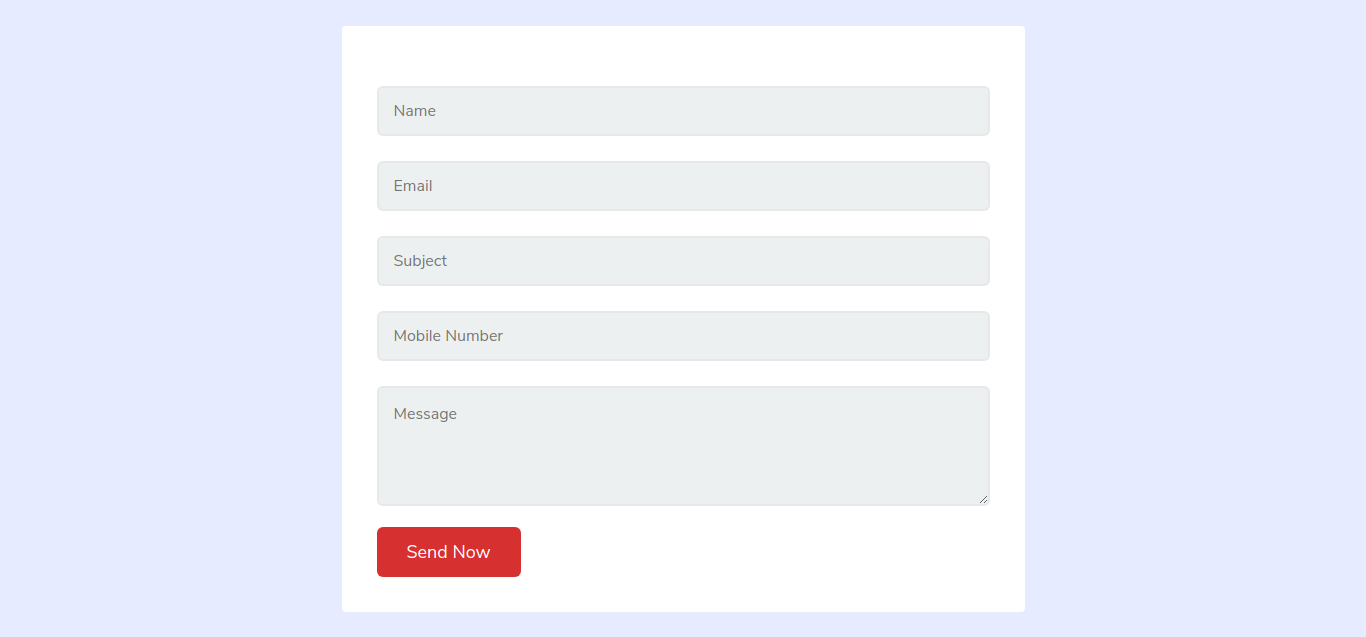 Plain Contact Us Form In HTML and CSS