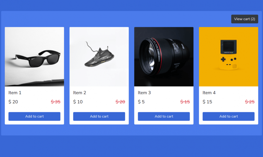Bootstrap 5 Responsive Shopping Cart Widget